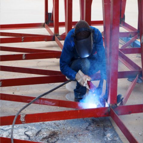 Welding work for steel